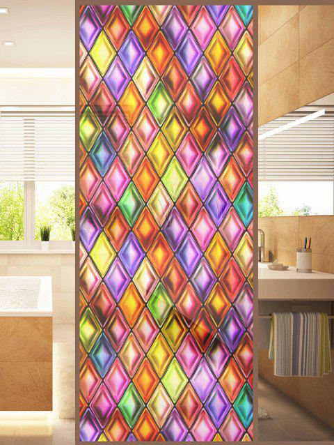Colorful Geometric Print Translucent Frosted Glass Sticker - multicolor 47*23 INCH