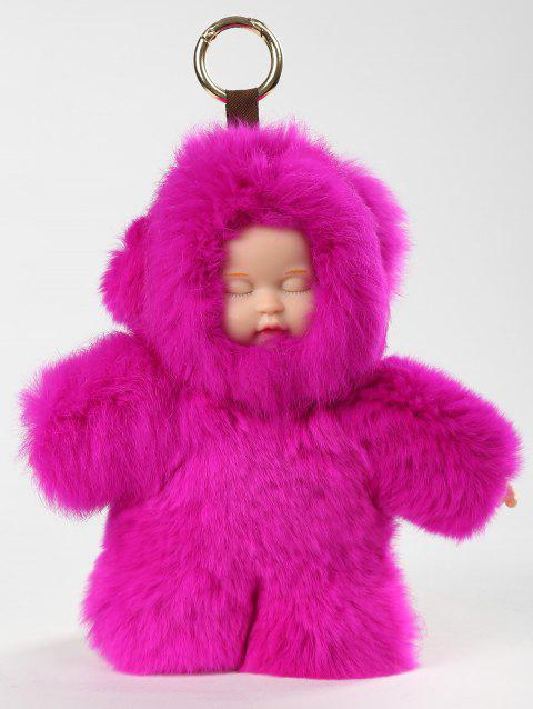 Plush Toy Key Chain Sleeping Baby Doll - ROSE RED