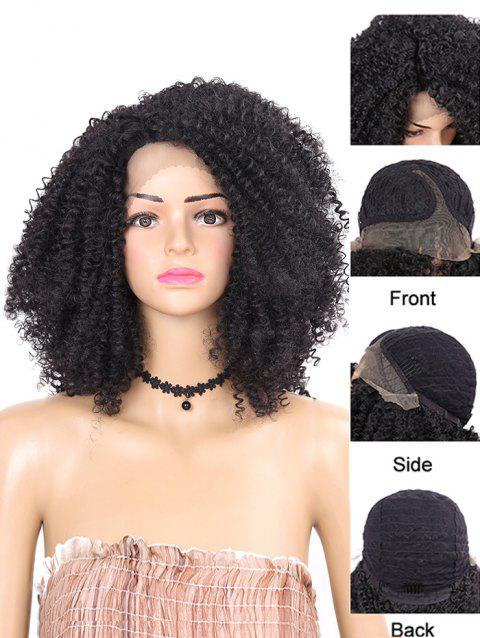 Short Inclined Bang Kinky Curly Lace Front Synthetic Wig - BLACK 12INCH