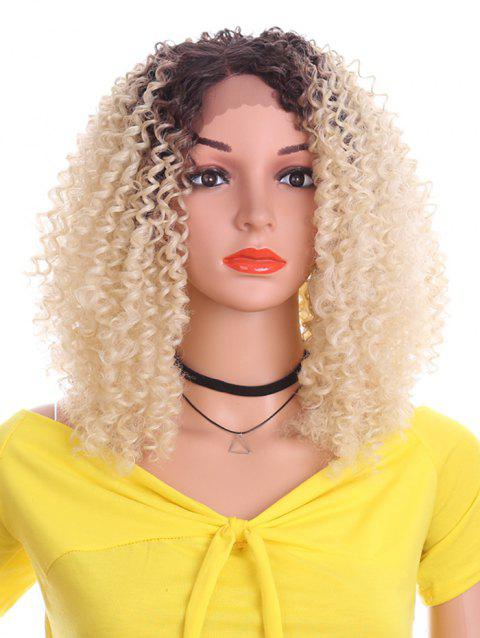 Short Inclined Bang Kinky Curly Lace Front Synthetic Wig - CORNSILK 12INCH
