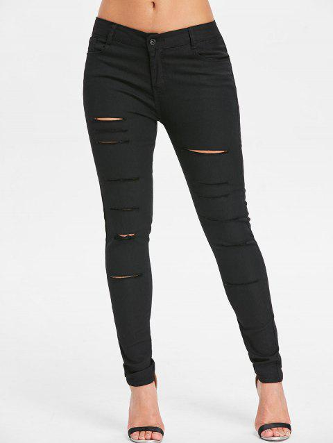 Cut Out Distressed Jeans - BLACK M