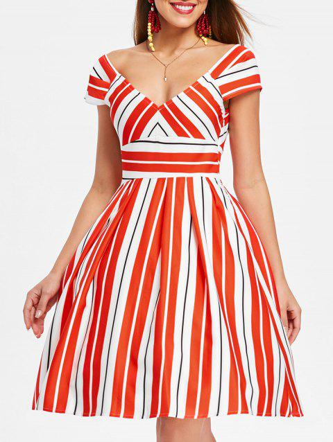 Plunging Neckline High Waist Striped Dress - multicolor S