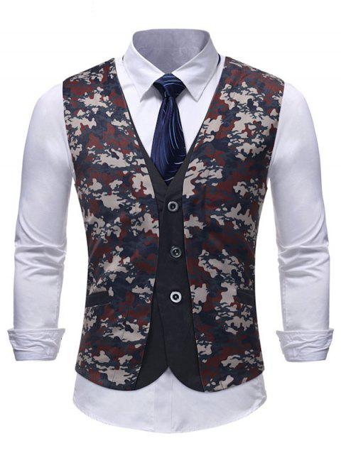 Belt Decor Camo Print Fake Two Pieces Waistcoat - multicolor XL