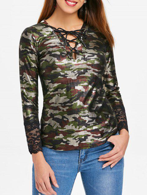Lattice Lace Trim Camo Top - multicolor M