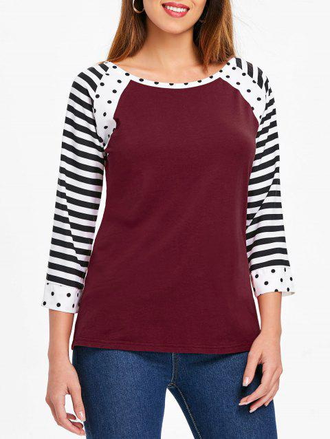 Polka Dot and Striped Round Neck T-shirt - RED WINE S