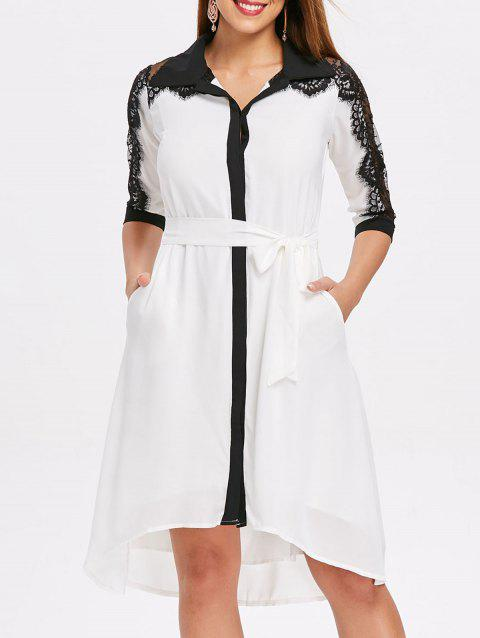 Lace Trim Asymmetrical Chiffon Shirtdress