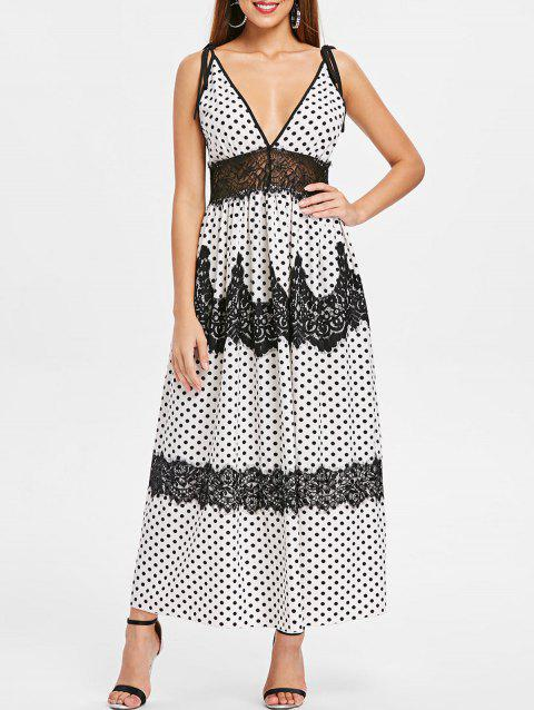 Plunge Lace Insert Polka Dot Maxi Dress - WHITE M