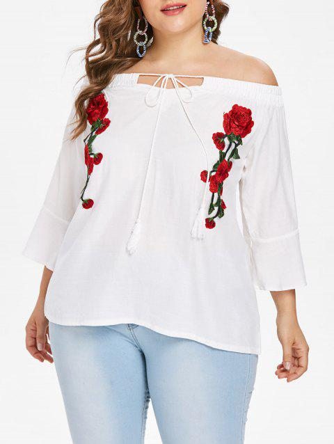 Plus Size Floral Embroidery Blouse - MILK WHITE 3X