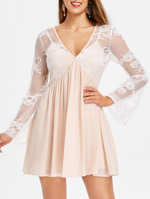 Long Sleeve Lace Panel Tunic Dress - BLANCHED ALMOND L