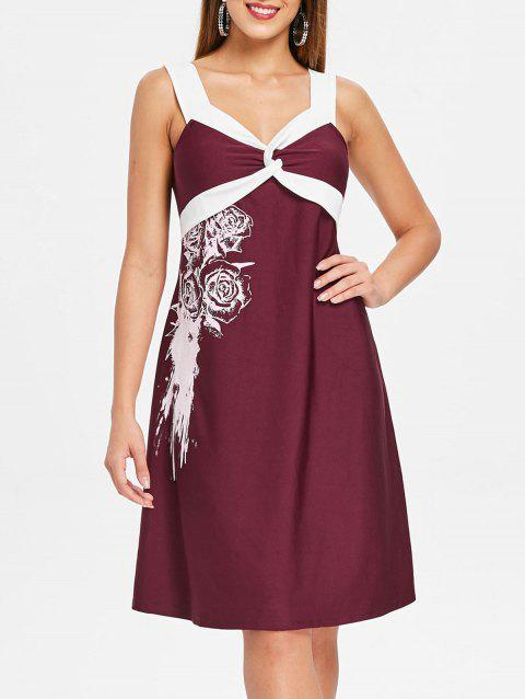 Floral Two Tone Knee Length Dress - RED WINE M