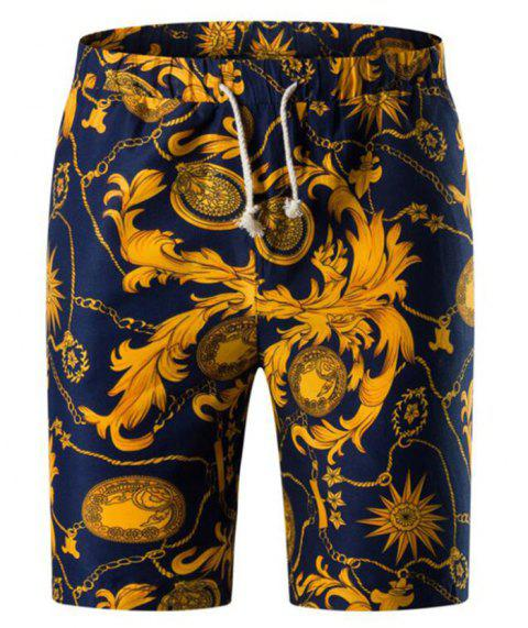 2cb65247d LIMITED OFFER  2019 Retro Floral Chain Print Bermuda Shorts In GOLD ...