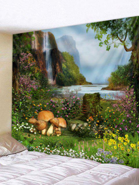 Dreamlike Forest Flower Print Wall Hanging Tapestry - multicolor W91 INCH * L71 INCH