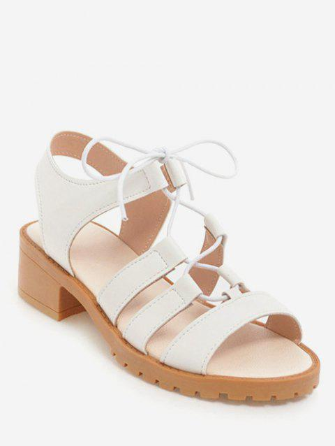 Plus Size Chunky Heel Leisure Outdoor Sandals - WHITE 43