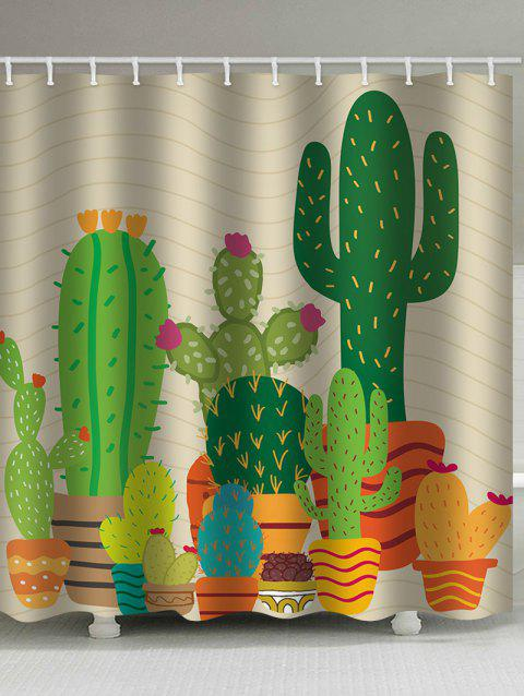 Large Cactus Pot Print Water Resistant Shower Curtain - multicolor W71 INCH * L71 INCH