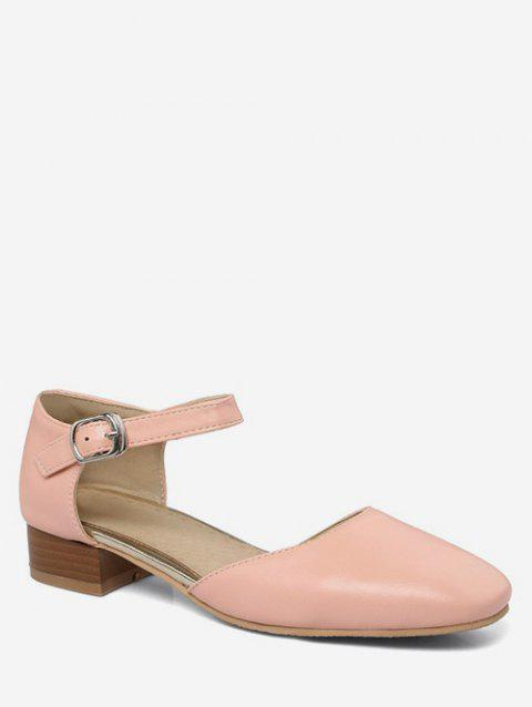 Plus Size Casual Ankle Wrap Low Heel Pumps - PINK 39
