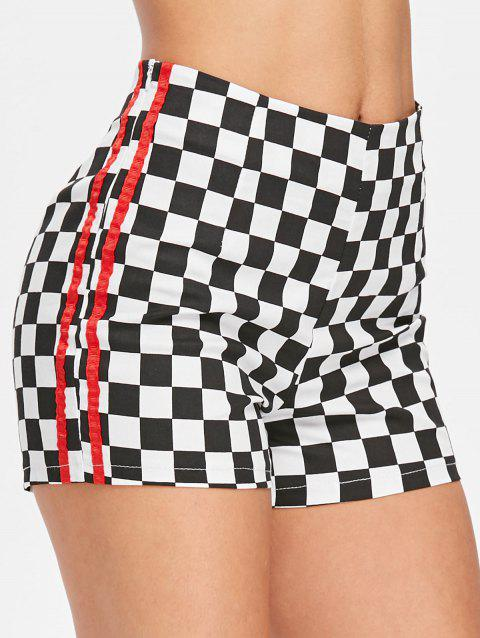 Double Stripe Checkered Bike Shorts - multicolor L