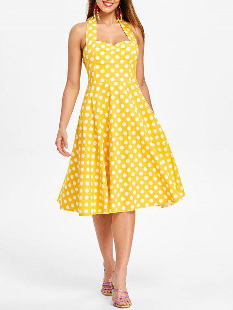 Polka Dot A Line Dress - BRIGHT YELLOW S