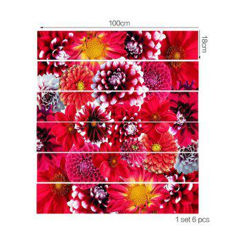 Flowers Print Stair Stickers - RED 6PCS:39*7 INCH( NO FRAME )