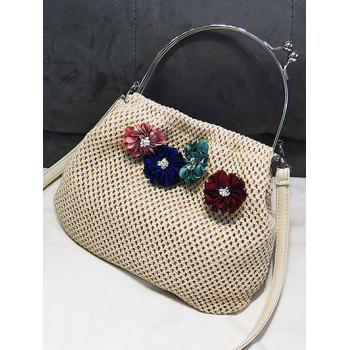 Holiday Casual Flower Straw Top Handle Tote Bag - BEIGE
