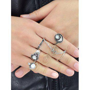 Bohemian Artificial Gemstone Finger Rings Set - SILVER ONE-SIZE