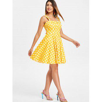 Self Tie Dotted A Line Dress - GOLDEN BROWN L