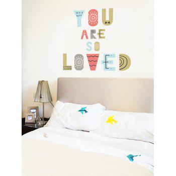 Colorful Letters Print Wall Art Stickers - multicolor