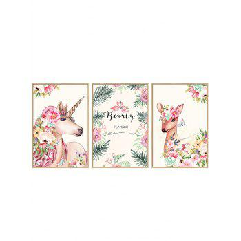 Unicorn Deer Floral Print Wall Art Stickers - multicolor