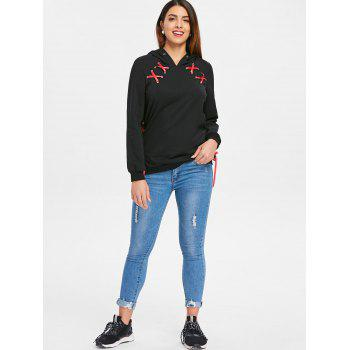 Lace Up Ribbon Hoodie - BLACK M