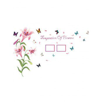 Photo Frame Flower Butterfly Printed Removable Wall Sticker - PINK