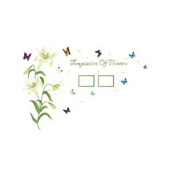 Photo Frame Flower Butterfly Printed Removable Wall Sticker - WHITE