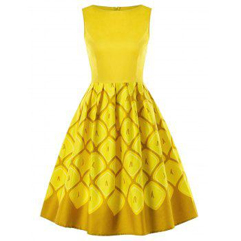 Bateau Neck Pineapple Dress - YELLOW XL