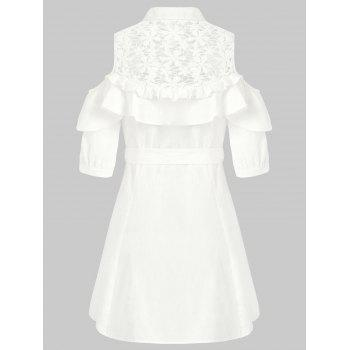 Lace Panel Cold Shoulder Belted Shirtdress - MILK WHITE L