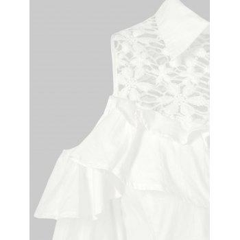 Lace Panel Cold Shoulder Belted Shirtdress - MILK WHITE 2XL