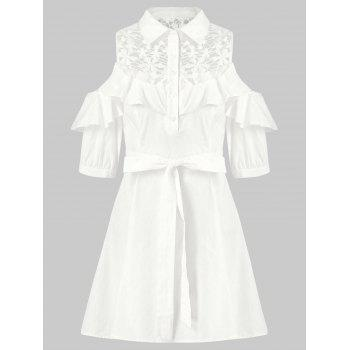 Lace Panel Cold Shoulder Belted Shirtdress - MILK WHITE XL