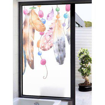 Feathers Print Translucent Frosted Glass Sticker - multicolor 35*23 INCH