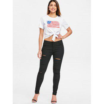 Cut Out Distressed Jeans - BLACK XL