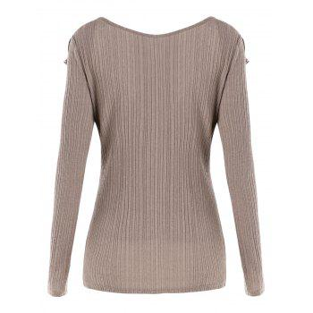 Long Sleeve Flounce Top - CAMEL BROWN 2XL