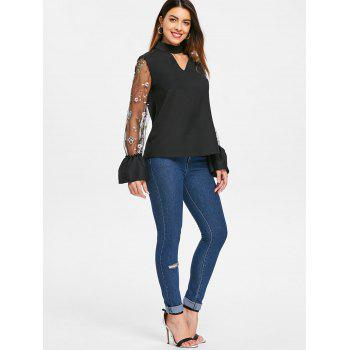 Cut Out Mesh Flared Sleeve Blouse - BLACK L