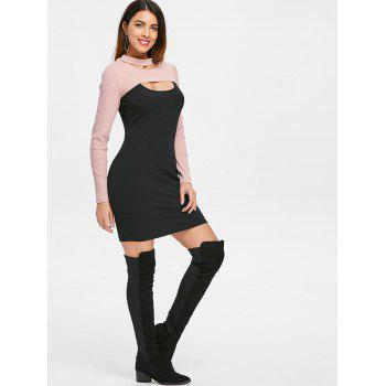 Long Sleeve Cropped Top and Short Dress - BLACK L