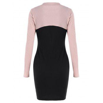 Long Sleeve Cropped Top and Short Dress - BLACK M