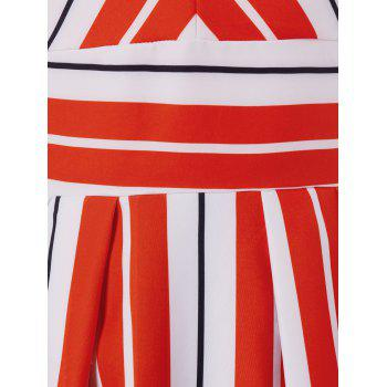 Plunging Neckline High Waist Striped Dress - multicolor XL