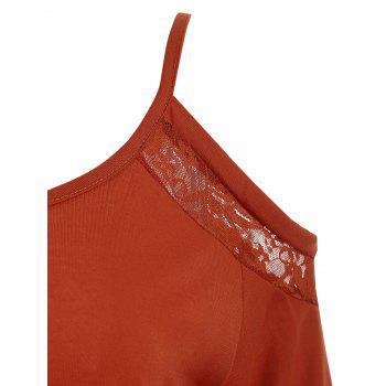 Lace Trim Open Shoulder Top - LAVA RED M