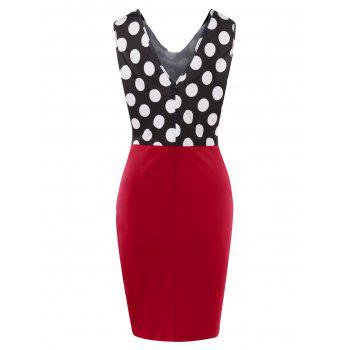 Retro Polka Dot Sleeveless Pencil Dress - CHILLI PEPPER XL