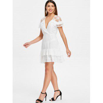 Lace Panel Deep V Neck Layered Dress - WHITE XL