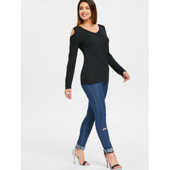 Long Sleeve Back Criss Cross T-shirt - BLACK M