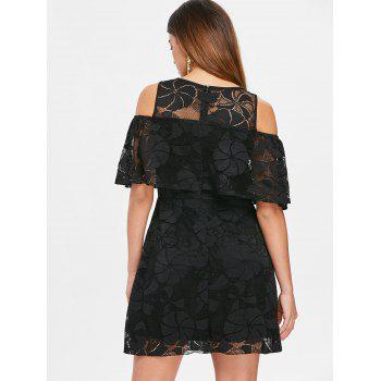 Lace Flounce Open Shoulder Dress - BLACK S