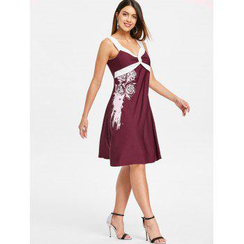 Floral Two Tone Knee Length Dress - RED WINE L