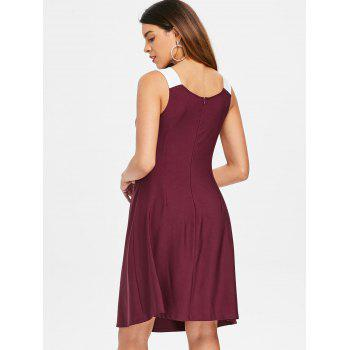 Floral Two Tone Knee Length Dress - RED WINE XL