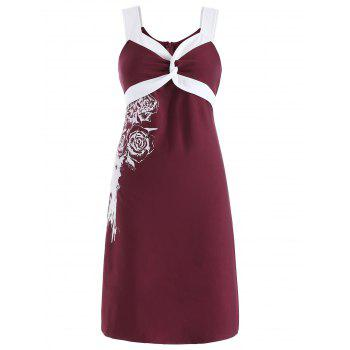 Floral Two Tone Knee Length Dress - RED WINE S