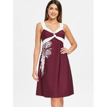 Floral Two Tone Knee Length Dress - RED WINE 2XL